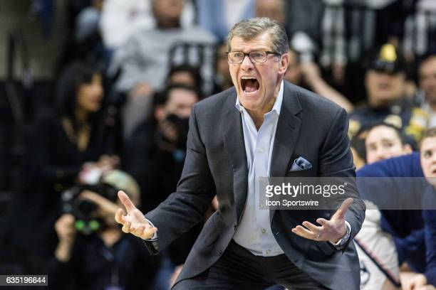 UConn Huskies Head Coach Geno Auriemma reacts to a call in the second half of a women's division 1 basketball game between 6th ranked University of...