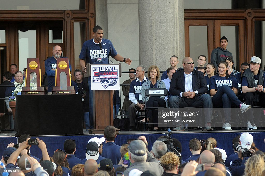 Uconn Huskies men's head coach Kevin Ollie speaks during a rally at the Connecticut State Capitol to celebrate their national championship April 13, 2014 in Hartford, Connecticut. This year was the second time both the men's and women's Uconn basketball teams have won national championships in the same year.