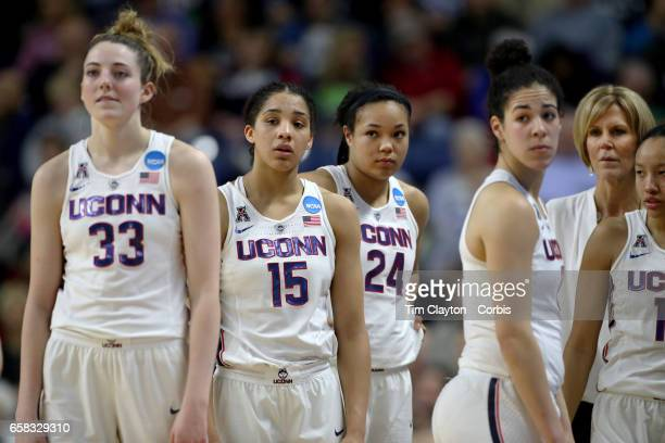 UConn Huskies players on the sideline during a replay review stoppage from left Katie Lou Samuelson Gabby Williams Napheesa Collier Kia Nurse Chris...