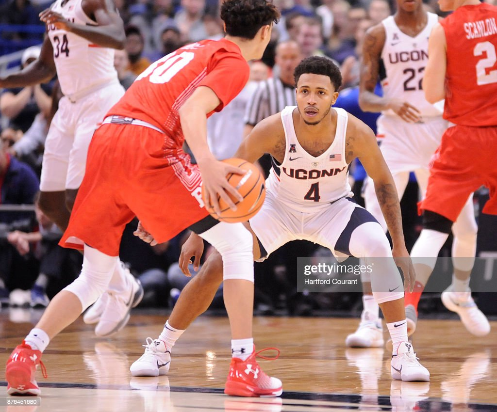 UConn's Jalen Adams defends as Boston University's Javante McCoy looks for room in the second half on Sunday, Nov. 19, 2017 at the at XL Center in Hartford, Conn. UConn won the game 85-66.