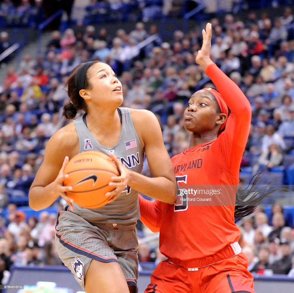 UConn's Napheesa Collier drives to the hoop past Maryland's Kaila Charles in the first half on Sunday, Nov. 19, 2017 at the at XL Center in Hartford, Conn. UConn won the game 97-72.