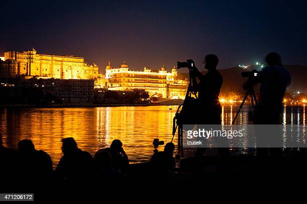 Udaipur at night and photographers