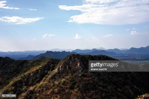 Udaipur, View of mountain range, Rajasthan, India