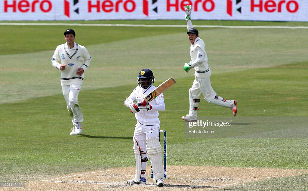 Udara Jayasundera of Sri Lanka is caught behind by BJ Watling of New Zealnd off the bowling of Neil Wagner during day four of the First Test match between New Zealand and Sri Lanka at University Oval on December 13, 2015 in Dunedin, New Zealand.