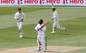 Udara Jayasundera of Sri Lanka is caught behind by BJ Watling of New Zealnd off the bowling of Neil Wagner during day four of the First Test match...