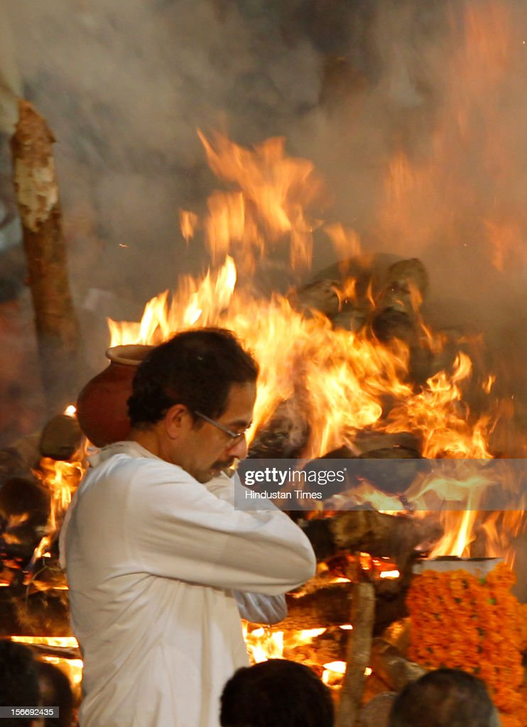 <a gi-track='captionPersonalityLinkClicked' href=/galleries/search?phrase=Uddhav+Thackeray&family=editorial&specificpeople=4252113 ng-click='$event.stopPropagation()'>Uddhav Thackeray</a> attends the funeral of Shiv Sena leader Bal Thackeray at Shivaji Park Ground, Dadar, on November 18, 2012 in Mumbai, India. Bala Saheb Thackeray passed away on November 17, 2012 after cardiac arrest.