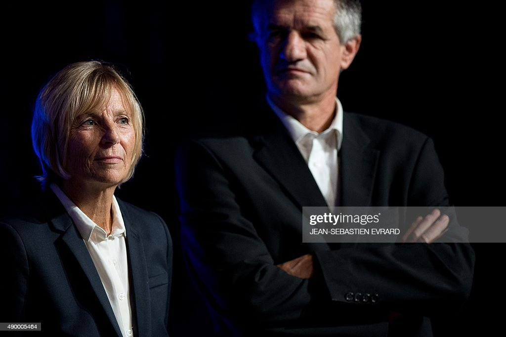 UDI-Modem's chief candidate for the Ile de France region and Modem vice-President <a gi-track='captionPersonalityLinkClicked' href=/galleries/search?phrase=Marielle+de+Sarnez&family=editorial&specificpeople=634936 ng-click='$event.stopPropagation()'>Marielle de Sarnez</a> (L) and MoDem MP Jean Lassalle (R) attend the party's summer congress on September 25, 2015 in Guidel, western France.
