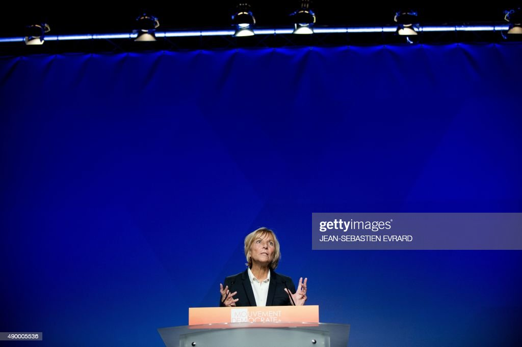 UDI-MoDem's chief candidate for the Ile de France region and MoDem vice-President <a gi-track='captionPersonalityLinkClicked' href=/galleries/search?phrase=Marielle+de+Sarnez&family=editorial&specificpeople=634936 ng-click='$event.stopPropagation()'>Marielle de Sarnez</a> delivers a speech during the party's summer congress on September 25, 2015 in Guidel, western France.