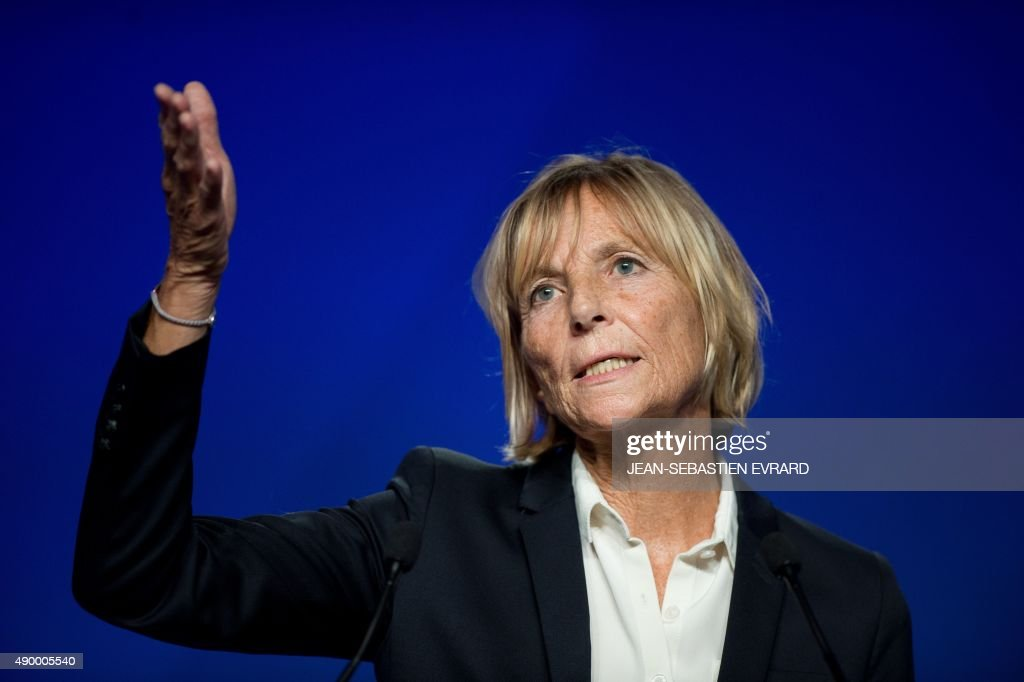 UDI-MoDem's chief candidate for the Ile de France region and MoDem vice-President <a gi-track='captionPersonalityLinkClicked' href=/galleries/search?phrase=Marielle+de+Sarnez&family=editorial&specificpeople=634936 ng-click='$event.stopPropagation()'>Marielle de Sarnez</a> gestures as she speaks during the party's summer congress on September 25, 2015 in Guidel, western France.