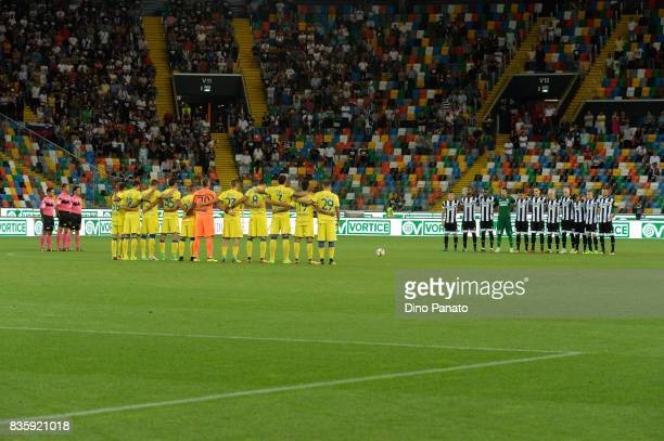 Udinese and ChievoVerona players observe a moment of silence in memory of Barcelona victims the Serie A match between Udinese Calcio and AC Chievo...