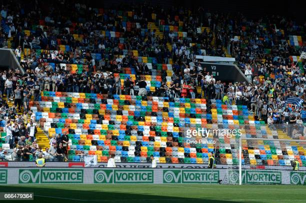 Udinese Calcio fans during the Serie A match between Udinese Calcio and Genoa CFC at Stadio Friuli on April 9 2017 in Udine Italy