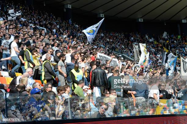 Udinese Calcio fans show their support during the Serie A match between Udinese Calcio and Genoa CFC at Stadio Friuli on April 9 2017 in Udine Italy