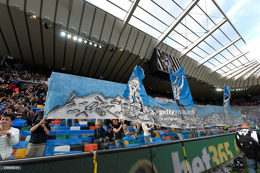Udinese calcio fans shows banners for remembers earthquake 6 May 1976 on Friuli during the Serie A match between Udinese Calcio and Torino FC at Dacia Arena on April 30, 2016 in Udine, Italy.