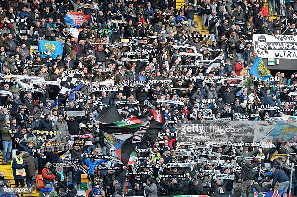 Udinese Calcio fans shows their support during the Serie A match between Udinese Calcio and FC Crotone at Stadio Friuli on December 18 2016 in Udine...