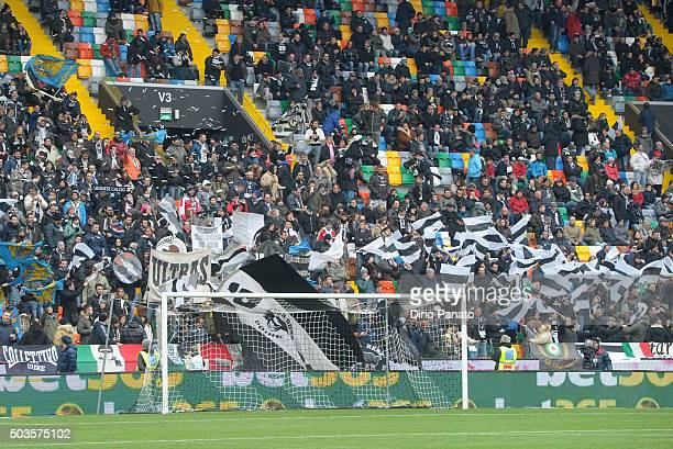 Udinese Calcio fans shows their support during the Serie A match between Udinese Calcio v Atalanta BC at Stadio Friuli on January 6 2016 in Udine...