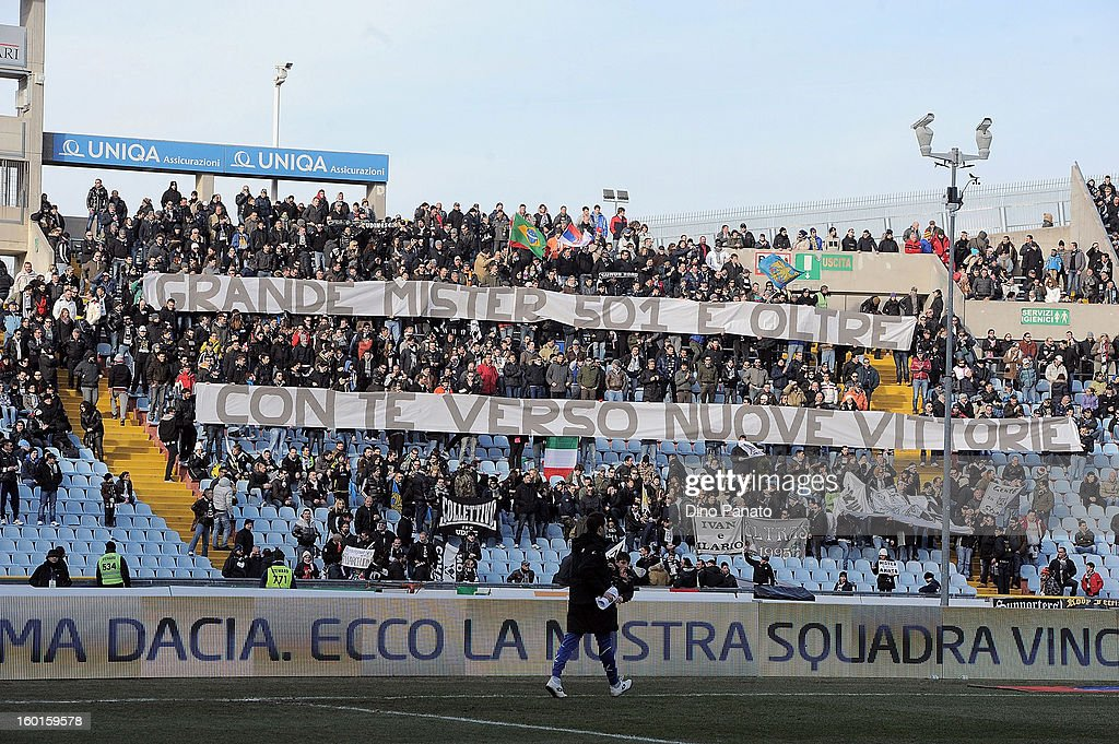 Udinese Calcio fans wave a banner as they show their support for coach Guidolin during the Serie A match between Udinese Calcio and AC Siena at Stadio Friuli on January 27, 2013 in Udine, Italy.