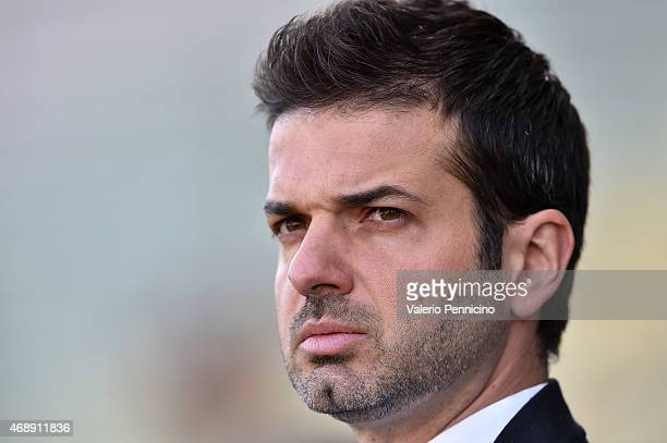 Udinese Calcio head coach Andrea Stramaccioni looks on prior to the Serie A match between Parma FC and Udinese Calcio at Stadio Ennio Tardini on...