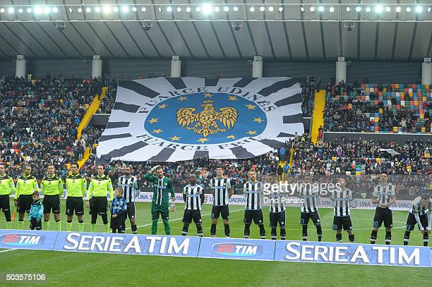 Udinese Calcio players poses and fans shows their support during the Serie A match between Udinese Calcio v Atalanta BC at Stadio Friuli on January 6...