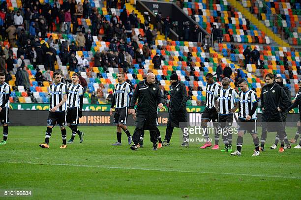 Udinese Calcio players show their dejection after the Serie A match between Udinese Calcio and Bologna FC at Stadio Friuli on February 14 2016 in...