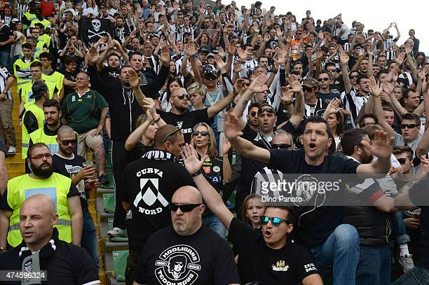 Udinese fans shows their support during the Serie A match between Udinese Calcio and US Sassuolo Calcio at Stadio Friuli on May 24 2015 in Udine Italy