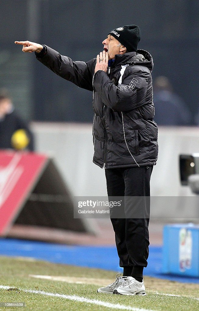 Udinese head coach Francesco Guidolin gestures during the Serie A match between Udinese Calcio and UC Sampdoria at Stadio Friuli on February 5, 2011 in Udine, Italy.