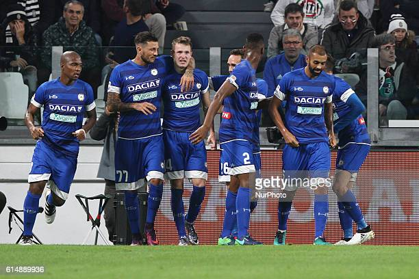 Udinese midfielder Jakub Jankto celebrates with his teammates after scoring his goal during the Serie A football match n8 JUVENTUS UDINESE on at the...