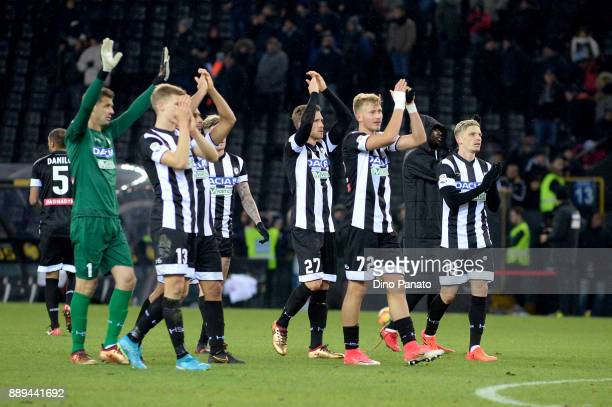 Udinese players celebrate victory after the Serie A match between Udinese Calcio and Benevento Calcio at Stadio Friuli on December 10 2017 in Udine...