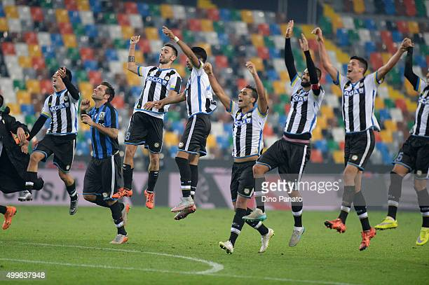 Udinese players celebrate victory after the TIM Cup match between Udinese Calcio and Atalanta BC at Stadio Friuli on December 2 2015 in Udine Italy
