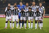 Udinese team players pose for a photograph prior to the Europa League group A football match between Young Boys and Udinese on October 25 2012 in...