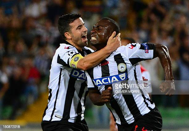 Udinese's Colombian defender Armero Pablo celebrates after scoring during the Champions League playoff secondleg football match between Udinese and...