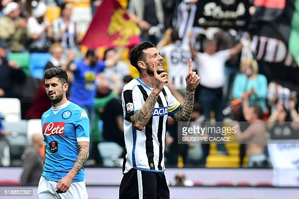 Udinese's forward from France Cyril Thereau celebrates after scoring a goal during the Italian Serie A football match Udinese vs Napoli at Friuli...