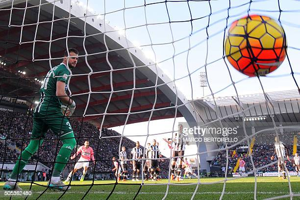 Udinese's goalkeeper Orestis Karnezis looks at the ball rolling into his goal during the Italian Serie A football match Udinese Vs Juventus on...