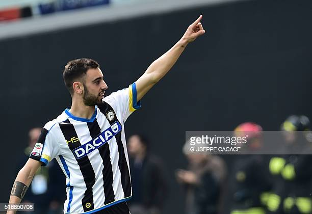 Udinese's midfielder from Portugal Bruno Fernandes celebrates after scoring a penalty during the Italian Serie A football match Udinese vs Napoli at...
