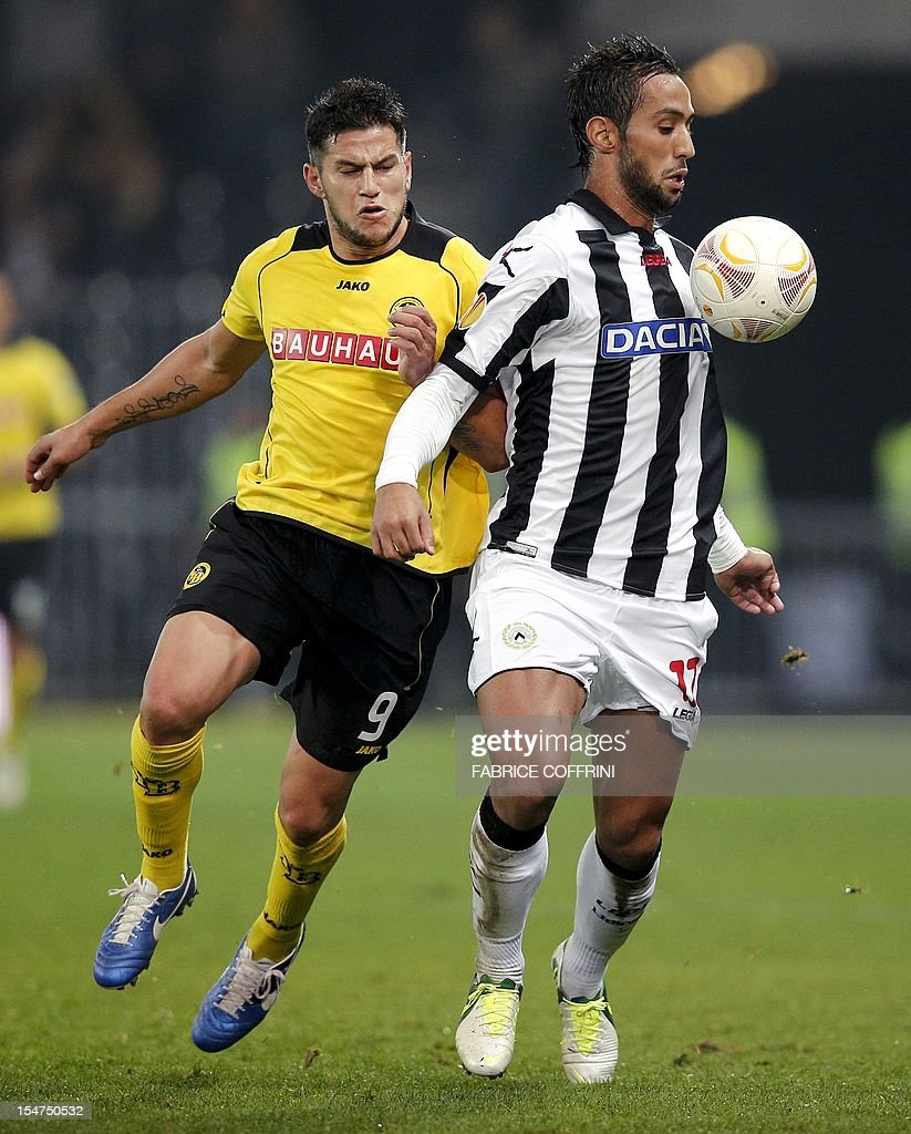 Udinese s midfielder of Marocco Mehdi Benatia R and Young Boys