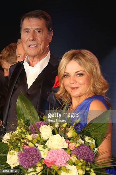 Udo Juergens and Annett Louisan are seen during the 'Udo Juergens Mitten im Leben' TV show on September 1 2014 in Freiburg im Breisgau Germany