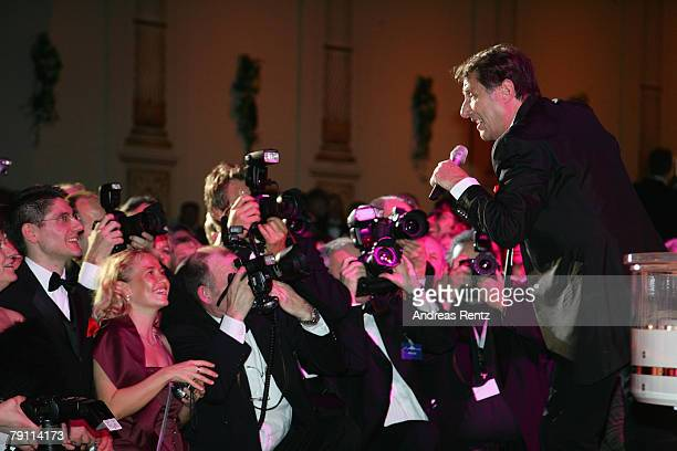 Udo Juergens performs on stage at the Semper Opera Ball on January 18 2008 in Dresden Germany