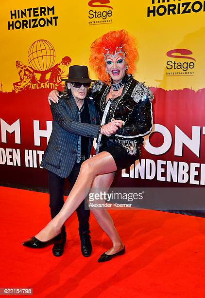 Udo Lindenberg and Olivia Jones attend the red carpet at the Hinterm Horizont Musical premiere at Stage Operretenhaus on November 10 2016 in Hamburg...