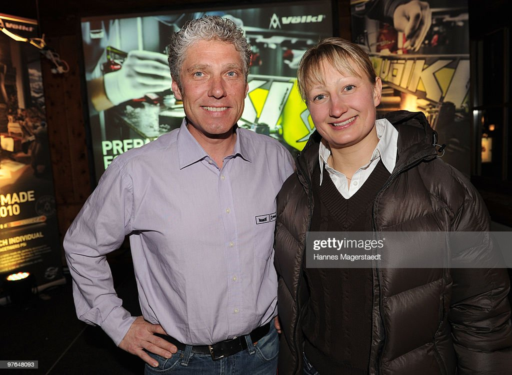 Udo Stenzel (CEO of Voelkl and Marker) and alpine skier Tanja Poutianinen attend the Voelkl Race Night on March 11, 2010 in Garmisch-Partenkirchen, Germany.