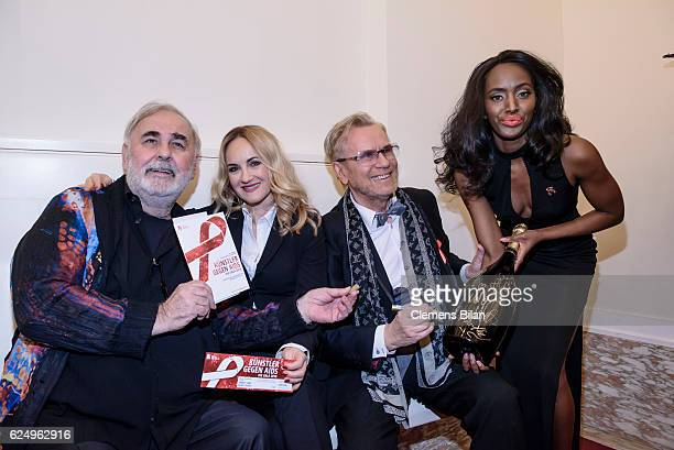 Udo Walz Katherine Mehrling Rene Koch and a model attend the Artists Against Aids Gala at Stage Theater des Westens on November 16 2016 in Berlin...