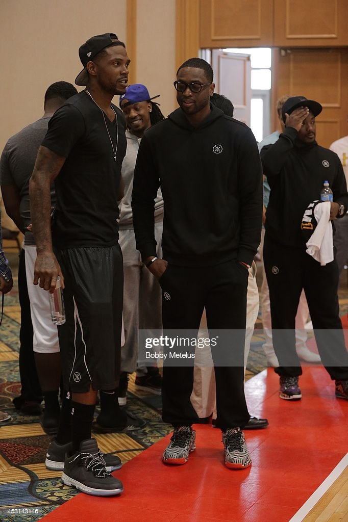 Udonis Haslem and Dwyane Wade at Dwyane Wade's Fourth Annual Fantasy Basketball Camp at Westin Diplomat on August 3, 2014 in Hollywood, Florida.