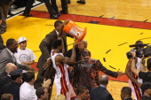 Udonis Haslem celebrates by drenching Head Coach Erik Spoelstra in gatorade as their team wins the NBA Championship by defeating the Oklahoma City...