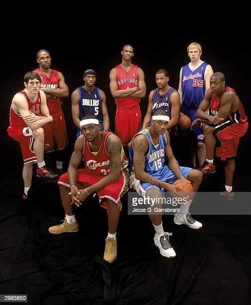 Udonis Haslem Josh Howard Chris Bosh Jarvis Hayes Chris Kaman Dwyane Wade Kirk Hinrich Lebron James Carmelo Anthony of the Rookie Team pose during...
