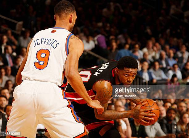 Udonis Haslem of the Miami Heat controls the ball against Jared Jeffries of the New York Knicks in Game Three of the Eastern Conference Quarterfinals...