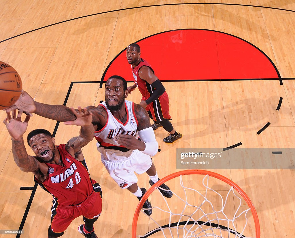<a gi-track='captionPersonalityLinkClicked' href=/galleries/search?phrase=Udonis+Haslem&family=editorial&specificpeople=201748 ng-click='$event.stopPropagation()'>Udonis Haslem</a> #40 of the Miami Heat drives to the basket against the Portland Trail Blazers on January 10, 2013 at the Rose Garden Arena in Portland, Oregon.