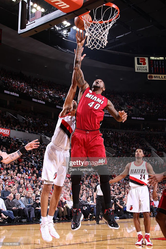 Udonis Haslem #40 of the Miami Heat goes up for the easy score against the Portland Trail Blazers on January 10, 2013 at the Rose Garden Arena in Portland, Oregon.