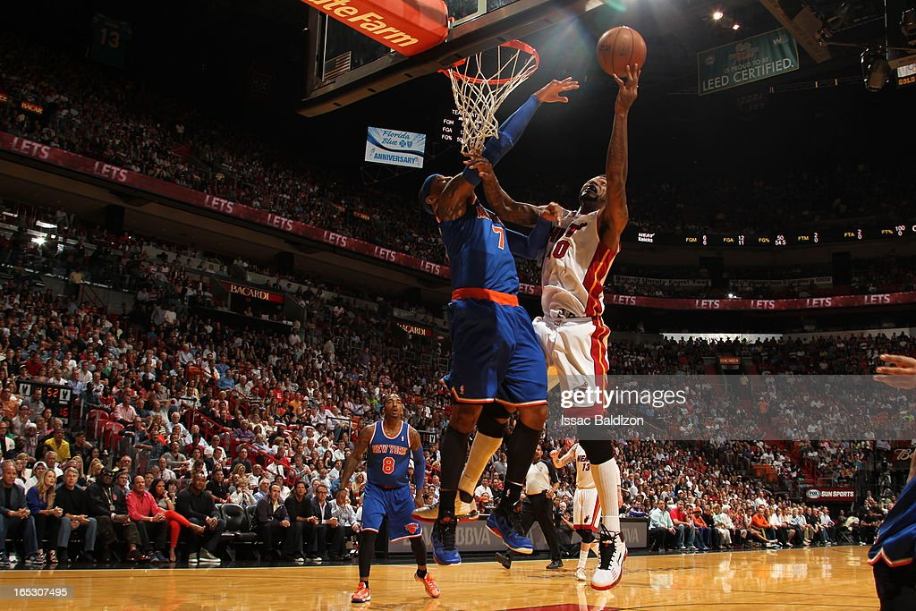 Udonis Haslem #40 of the Miami Heat goes up for the shot against the New York Knicks during a game on April 2, 2013 at American Airlines Arena in Miami, Florida.