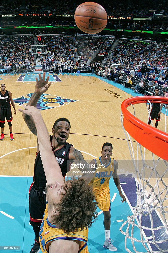 <a gi-track='captionPersonalityLinkClicked' href=/galleries/search?phrase=Udonis+Haslem&family=editorial&specificpeople=201748 ng-click='$event.stopPropagation()'>Udonis Haslem</a> #40 of the Miami Heat puts up a shot against the New Orleans Hornets on March 29, 2013 at the New Orleans Arena in New Orleans, Louisiana.