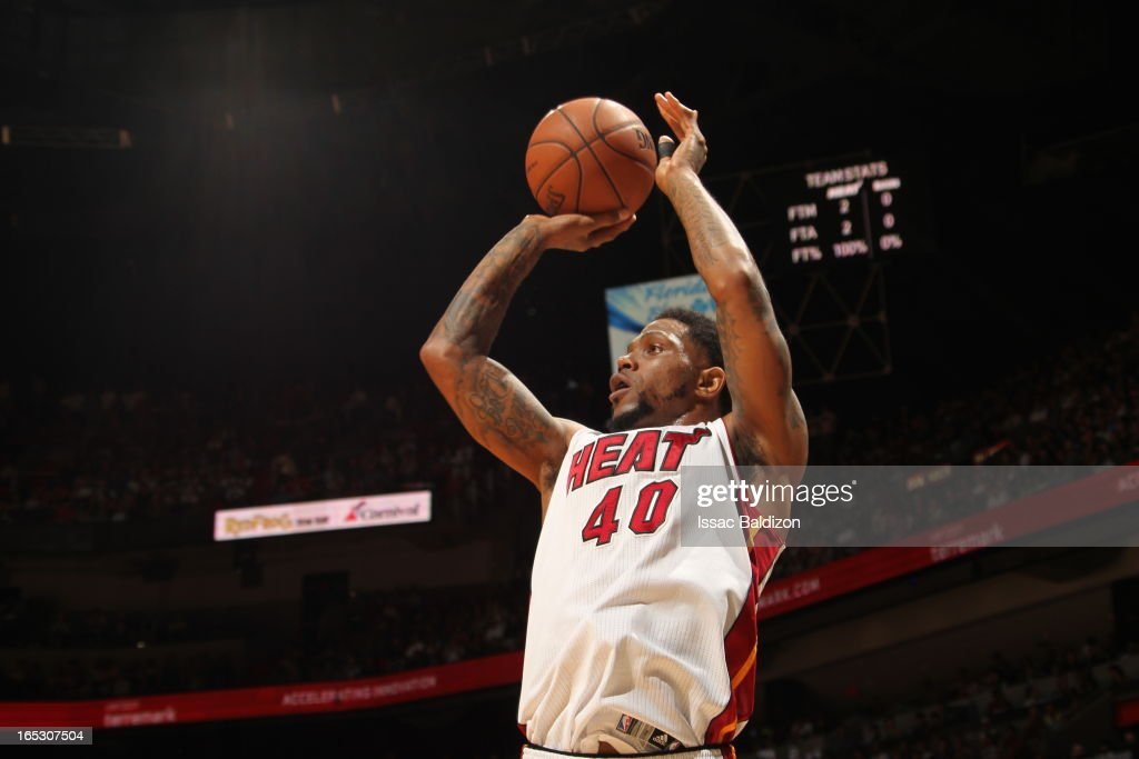 Udonis Haslem #40 of the Miami Heat shoots the ball against the New York Knicks during a game on April 2, 2013 at American Airlines Arena in Miami, Florida.