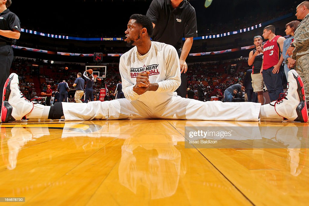 Udonis Haslem #40 of the Miami Heat stretches before playing against the Atlanta Hawks on March 12, 2013 at American Airlines Arena in Miami, Florida.