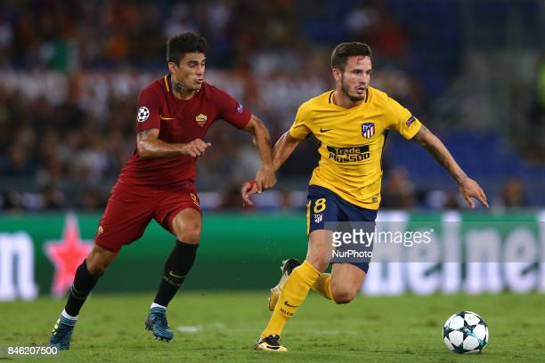 Group C Roma v Atletico de Madrid Diego Perotti of Roma and Saul Niguez of Atletico at Olimpico Stadium in Rome Italy on September 12 2017
